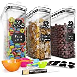 Cereal Container Storage Set - Airtight Food Storage Containers, 8 Labels, Spoon Set & Pen, Great for Flour -...