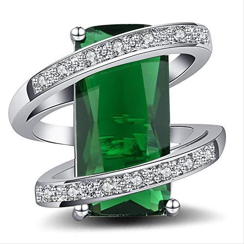 IWINO 925 zilveren ring voor vrouwen met 10 * 20mm rechthoek smaragd edelstenen zilveren sieraden jubileum viering cadeau maat 6-10