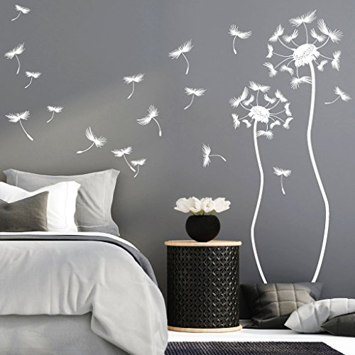 "Wandtattoo-Loft® ""Zwei Pusteblumen mit vielen Pollen/Wandtattoo/Wandaufkleber/Wandkunst / 54 Farben / 4 Größen/dunkelgrau / 58 x 195 cm & 48 x 145 cm"