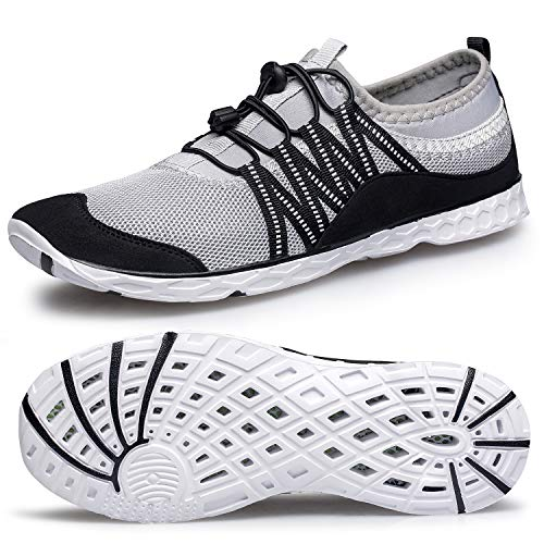 Alibress Mens Water Sports Shoes Lightweight Outdoor Hiking River Quick Dry Aqua Shoes Beach Diving Boating Water Shoes for Men Grey 12 M US