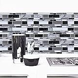 "Black and White Peel and Stick Backsplash Kitchen Wallpaper 11.8""x78.7""Bathroom Wallpaper for Kitchen Backsplash Tile Contact Paper Countertop Removable Self Adhesive Wallpaper Waterproof Vinyl Film"