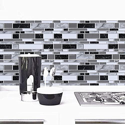 Black and White Peel and Stick Backsplash Kitchen Wallpaper...
