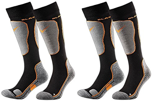 Black Crevice Lot de 2 paires de chaussettes de ski pour adulte Multicolore (noir/orange) 31-34