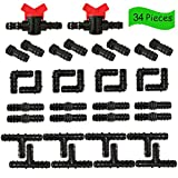Drip Irrigation Fittings Kit, Irrigation Barbed Connectors for 1/2