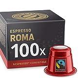 Espresso Roma: 100 Nespresso cápsulas de café compatibles. Café Fairtrade