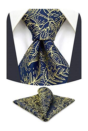 S&W SHLAX&WING Conjuntos de corbata para hombre Corbatas de novio de seda Corbata de tamaño clásico azul floral dorado con conjunto de pañuelo de bolsillo