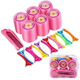 Elcoho Self Grip Hair Rollers Set 27 Rollers, 15 Duck Bill Clips, 1