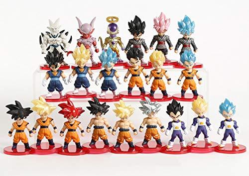 Lote de 21 Figuras de Dragon Ball DBZ DBS DB GT PVC Personajes de Goku Gotenks Vegeto Vegeta Freezer Zamasu Goku Black Gogeta Gohan Zamas 5-9 cm Aprox tamano Figuras