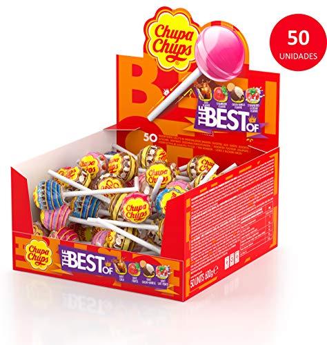 Chupa Chups Original, Caramelo con Palo de Sabores Variados, Display de 50 unidades de 12 gr. (Total 600 gr.)