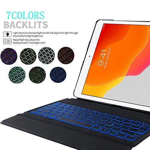 YGoal Tastatur Hülle für HuaweiMatePadT 10,(QWERTY Englische Layout) 7 Colors Backlit Ultradünn PU Leder Schutzhülle mit Abnehmbarer drahtloser Tastatur für HuaweiMatePadT10 9.7, Roségold