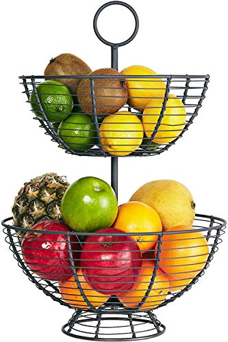 Farmhouse 2 Tier Fruit Bowl - Wire Basket by Regal Trunk & Co | Two Tier Fruit Basket Stand for Storing & Organizing Vegetables, Eggs, and More | Deep Fruit Basket for Counter Top (2 Tier)
