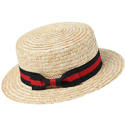 BABEYOND Men's 1920s Brim Boater Hat Gatsby Straw Hat 20s Costume Accessories (Red and Black, Small/Medium)