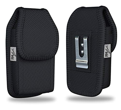 "AGOZ Jitterbug Flip Phone Case, Vertical Belt Clip Holster, Heavy-Duty Canvas Carrying Flip Cell Phone Pouch Rugged Cover with Strong Metal Clip and Belt Loops - 4.3"" x 2.2"""
