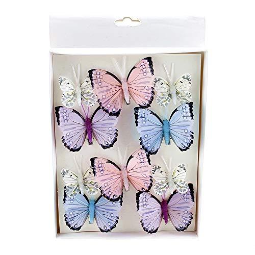 TGG 10 St. Schmetterlinge Mix mit Clip 2 Größen Sortiment / 045 blau-rosa