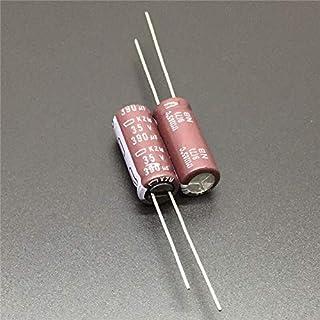 GOUWEI 100pcs 390uF 35V NCC KZM Series 8x20mm Low Impedance Long Life 35V390uF Aluminum Electrolytic Capacitor