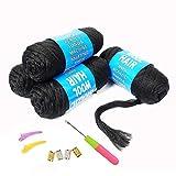 100% Brazilian Wool Hair Acrylic Yarn For African Braids/Senegalese Twist/Faux Locs/Wraps With Crochet Hook