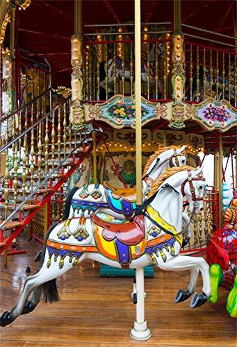 YongFoto 2x3m vinyl foto achtergrond vakantiepark carrousel carrousel beursterrein ladder houten vloer fotografie achtergrond backdrop fotostudio achtergrond rekwisieten