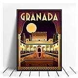 JCYMC Cuadro De Lienzo Alhambra Granada España Cartel De Viaje E Impresión Arte De Pared Digital Imágenes Vintage Decoración del Hogar Ky382Fa 40X60Cm Sin Marco