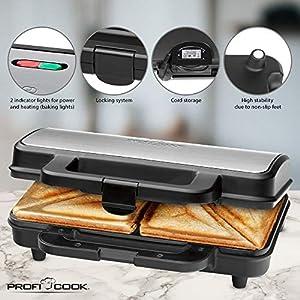 ProfiCook PC-ST 1092 Sandwichtoaster, extra große Sandwichplatten für amerikanische XXL-Toastscheiben, Edelstahleinlage, Antihaftbeschichtung, 2 Kontrolleuchten