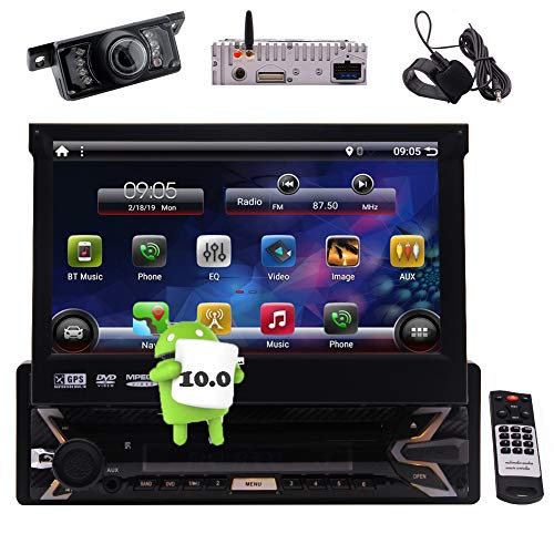 Android 10.0 Car Stereo Navigation CD Player with Bluetooth Single Din 7 Inch Touch Screen GPS Auto Radio Head Unit Support DVD USB SD MP3 MP5 1080p Video Mirrorlink WiFi Remote Control Backup Camera