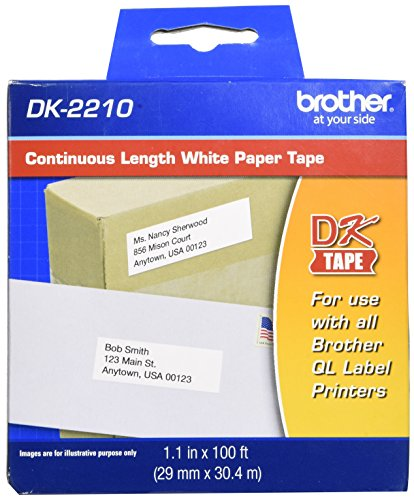 "Brother Genuine DK-2210 Continuous Length Black on White Paper Tape for Brother QL Label Printers, 1.1"" x 100' (29mm x 30.4M), 1 Roll per Box, DK2210"