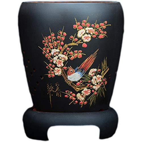 YLE Negro Macetas Ceramica Esmaltada con Orificio de Drenaje Hecho a Mano Macetas Ceramica Interior para Mamá, Oficina, Vacaciones Ø 19 cm x H 27 cm