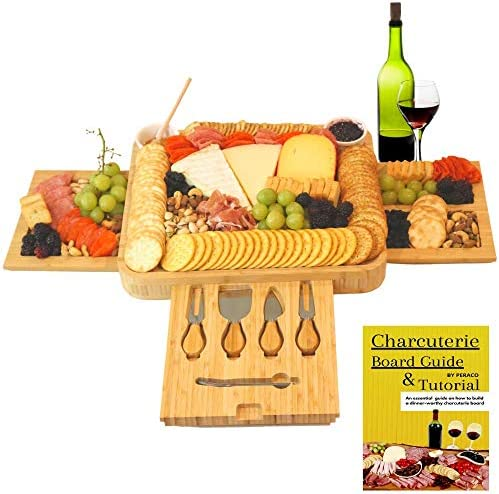 Peraco s Bamboo Charcuterie Board Set and Accessories Includes Large Cheese Board and Knife product image