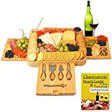 Peraco's Bamboo Charcuterie Board Set and Accessories - Includes Large Cheese Board and Knife Set with Extra Utensils and Bowls - Perfect Serving Platter and Cutting Board -  Includes free Ebook