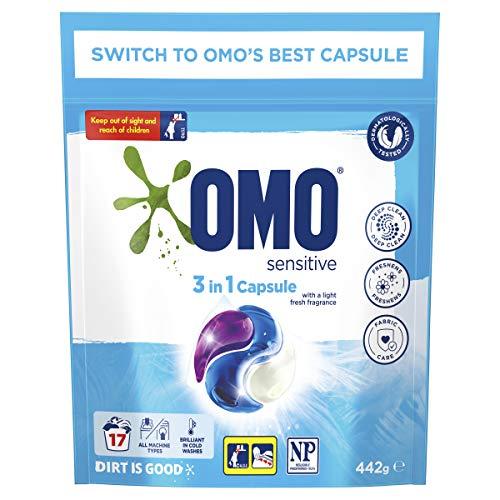 Omo Laundry Liquid Triple Capsules, 3 in 1 Capsule, Sensitive 17 Pack