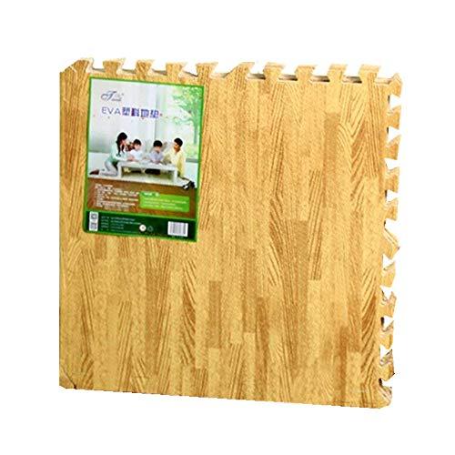 16 Stück Holz Wirkung Puzzlematten,30x30cm x 1.0 cm, Wasserdicht Rutschfest Spiel-Matten für Kinder Weiche Puzzle Mats Eva-Schaum-Matten,Babys Schlafzimmer Yoga Turnhalle (Gelb)