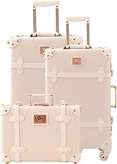 Uretravel Vintage Luggage Sets Lightweight Women Leather Suitcase/Trunk, Set of 3