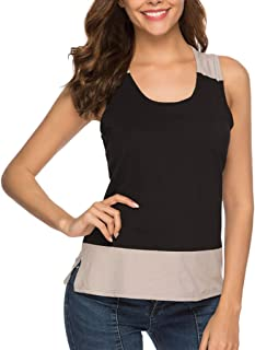 Dubocu Women T-Shirt Crew Neck Sleeveless Solid Color Patchwork Camis Summer Tank Top Blouse Pullover
