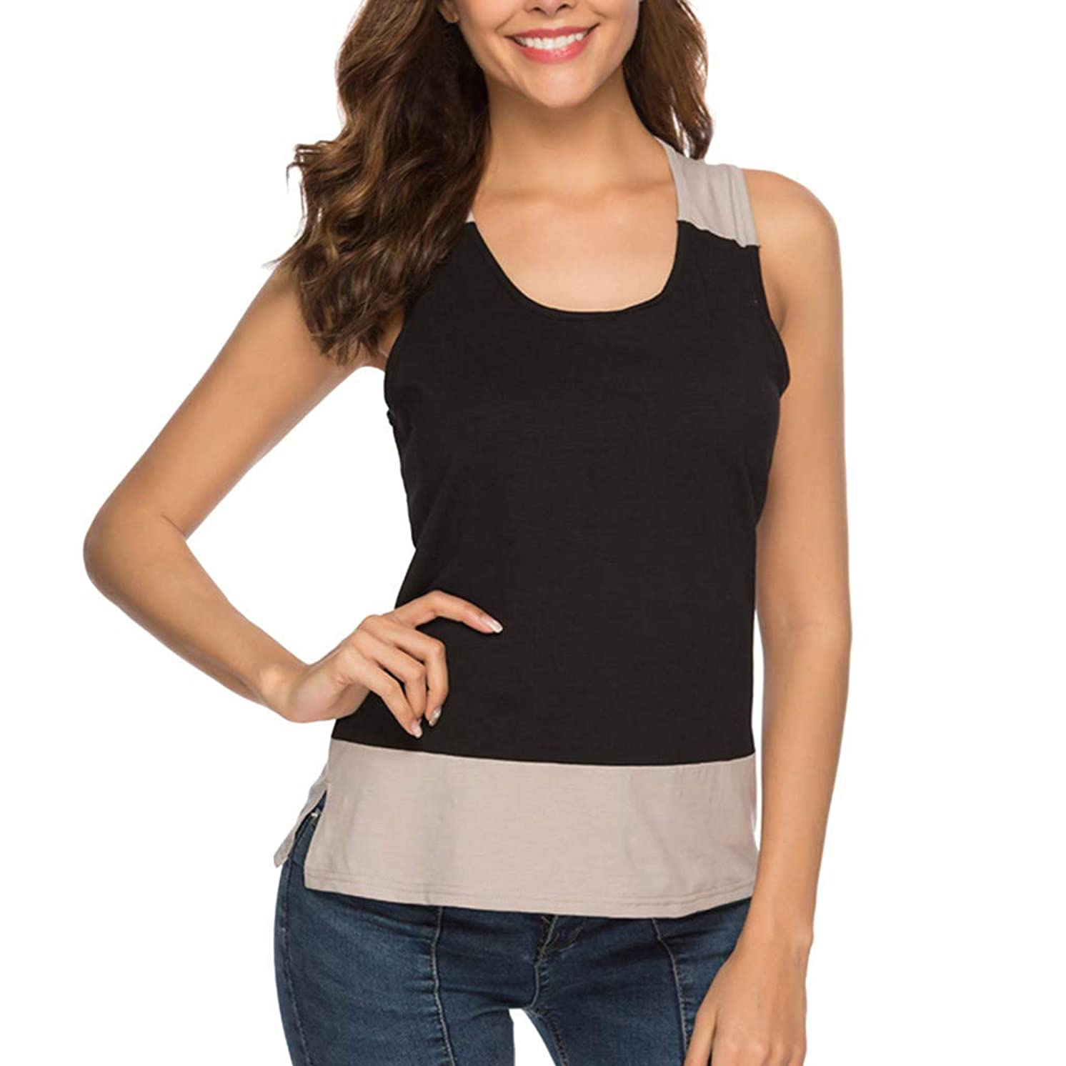 Amlaiworld Women Casual Tee Tops Solid Sleeveless O-Neck Pullover Camis Patchwork Tank Top Blouse Summer Loose T Shirt