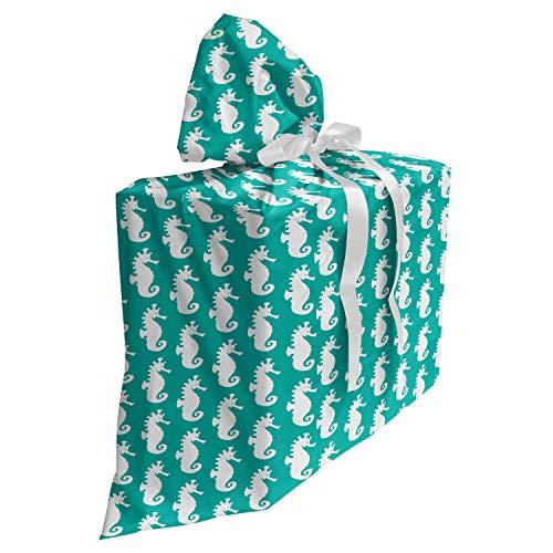 ABAKUHAUS zeepaardje Cadeautas voor Baby Shower Feestje, Silhouette Aquarium, Herbruikbare Stoffen Tas met 3 Linten, 70 cm x 80 cm, Sky Blue and White