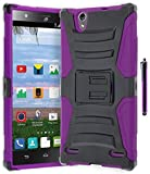 ZTE Lever Z936L Phone Case, Bastex Hybrid Soft Purple Silicone Cover Hard Black Holster Kickstand Case for ZTE Lever S936LINCLUDES STYLUS