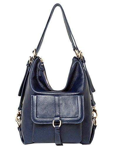 Damen Mode Rucksack Handtasche Echtes Büffel Leder Rucksack Koreanische Adrette Art Schulmädchen Backpack Blau