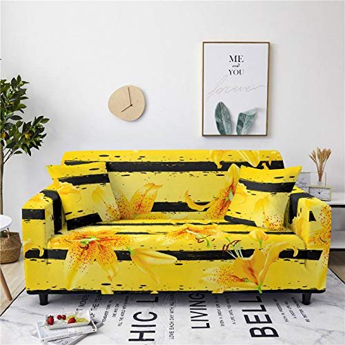 Universal Sofa Cover Spandex Stretch Couch Slipcover Yellow Lily Floral Pattern Tight Fitted Armchair Loveseat Settee Cover 1/2/3/4 Seater Sofa Protector,1,seat 90,140cm
