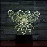 Humeur Lumières Abeille Animal 3D Lampe Tactile Capteur 7 Changement de Couleur Apis Lampe Décorative Enfant Enfants Bébé Kit Veilleuse Honeybee Led Veilleuse