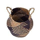 1 cestino pieghevole fatto a mano in vimini rattan, vaso per fiori e lavanderia.