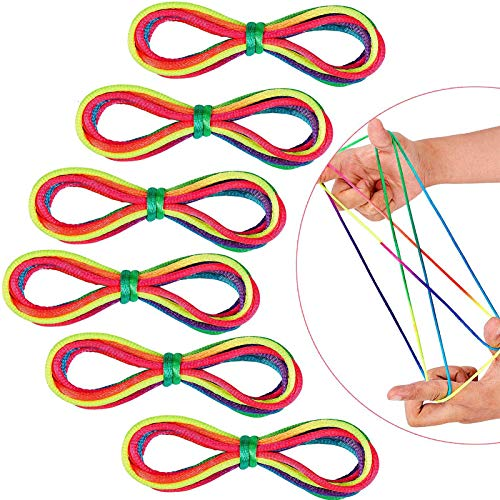 Sunshine smile fadenspiel fingerspiel,fingertwist,Regenbogen fingerspiel,Rainbow Rope,Regenbogen Schnur Finger,fadenspiele für Kinder(12 Stück)