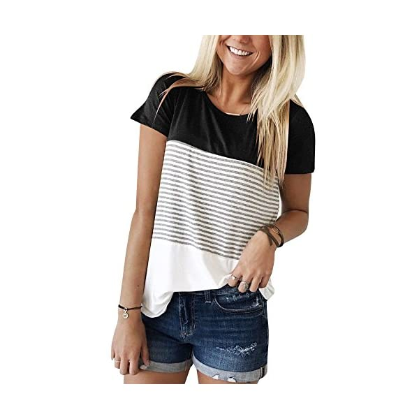 Fashion Shopping YunJey Round Neck Triple Color Block Stripe T-Shirt