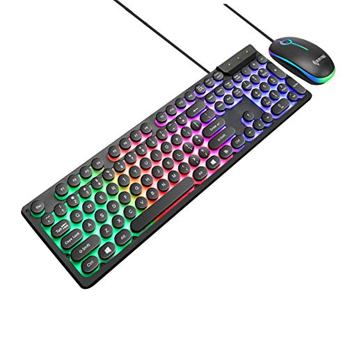LED Rainbow Color Backlight Gaming USB Wired Punk Keyboard Mouse Set Multibutton Touch comfortabel