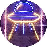 Alien Spaceship UFO Dual Color LED看板 ネオンプレート サイン 標識 青色 + 黄色 210 x 300mm st6s23-i3287-by