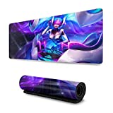 LOL Computer Keyboard Mouse Mat Extended Mat Waterproof Non-Slip Rubber Ultra Thick 3Mm for League Legends-15.8X35.5X0.2 in (Sona)