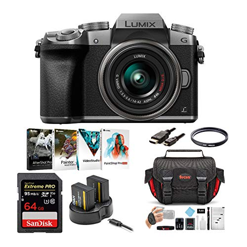 Panasonic LUMIX G7 Mirrorless Camera with 14-42mm f/3.5-5.6 Lens and 64GB SD Card Bundle (Silver) (7 Items)
