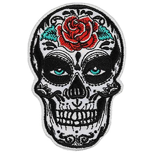 Mexican Skull Aufnäher tribal Totenkopf Aufbügler Biker Patch Rocker Bügelbilder Heavy Metal Sticker Geschenk Motorradfahrer DIY Applikation für Jacke/Weste/Jeans/Motorradkoffer 90x60mm