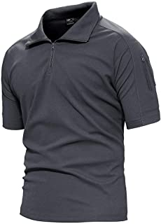 TACVASEN Men's Tactical Performance Polo Short and Long Sleeve 1/4 Zip Hiking Tee Shirt
