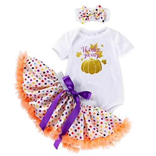 Bebé Niña Primer cumpleaños Pastel Smash Conjunto de tutú de Lunares Algodón Manga Corta Mameluco Falda de Tul Bowknot Venda 3 Piezas Conjunto de Ropa Apoyos de la Foto,Naranja,6~12 Months