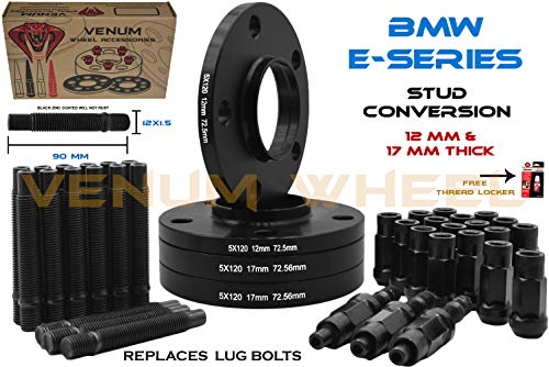 4 Pc 12mm + 17mm Black BMW Hub Centric Wheel Spacers + All Black 12x1.5 Racing Stud Conversion Compatible With OEM & Aftermarket Wheels On BMW Models E36 E46 E90 E92 E64 E23 E32 E38 E31 Fast Shipping