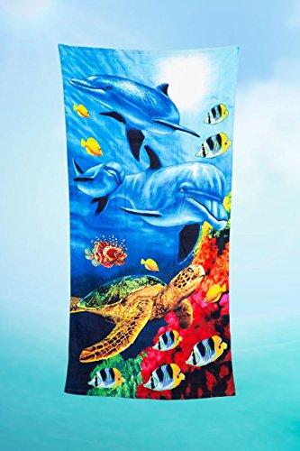 Toalla estampada de rizo para playa o piscina con tortuga marina, 80 x 160 cm